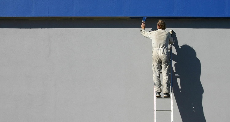 Painter and decorator at work