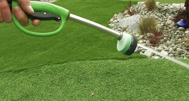 Artificial grass installation wash