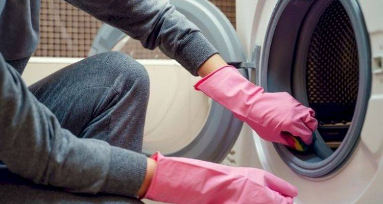 Woman with pink gloves cleaning washing machine