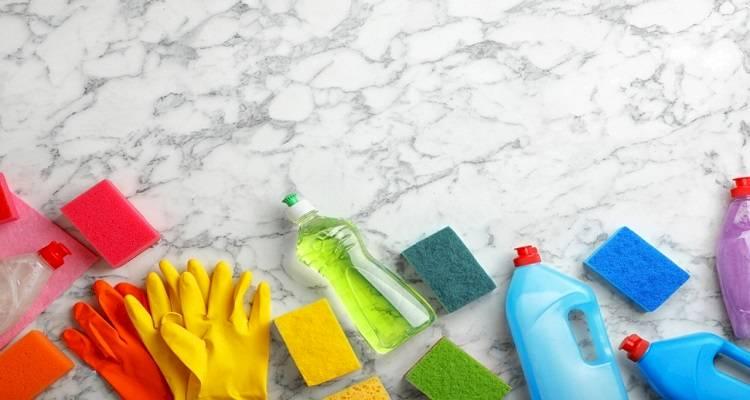 clean kitchen worktop and cupboard