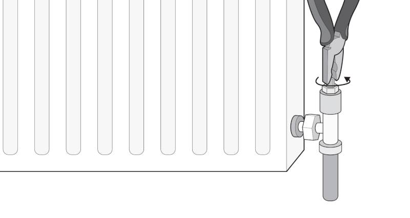 how to isolate a radiator with a lockshield valve step 3