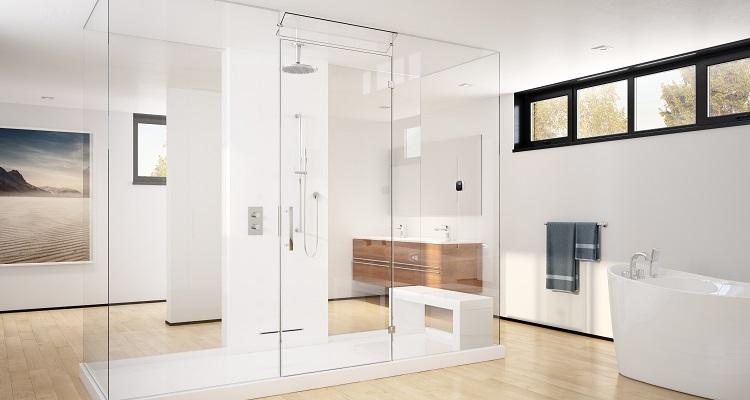 Steam shower in a bathroom