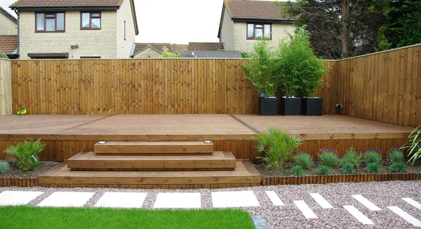 Decking area with steps