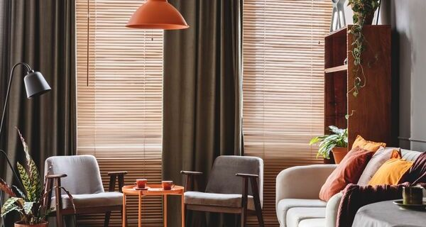 Livingroom with orange accessories