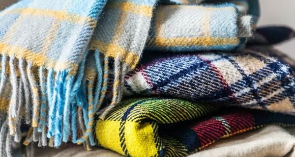 Colourful warm looking tartan blankets