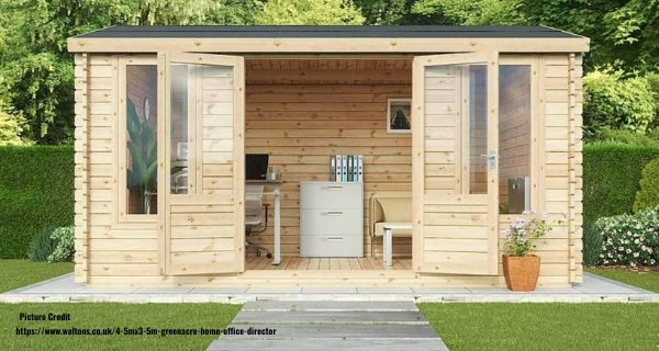 Log cabin in the garden with a home office setup