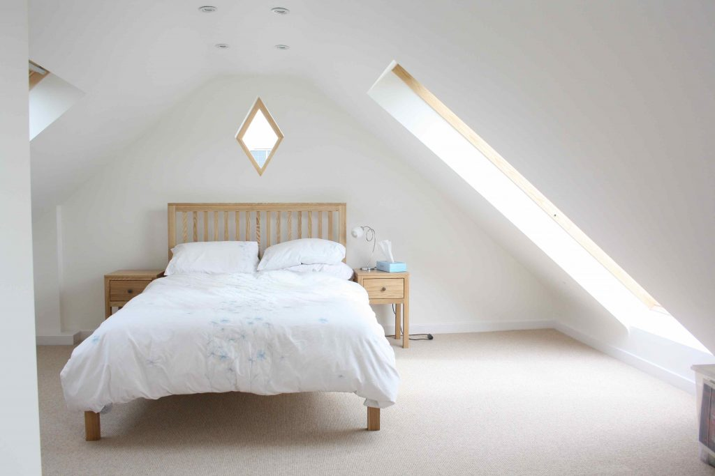 Bedroom loft conversion with lots of light. Great home extension ideas