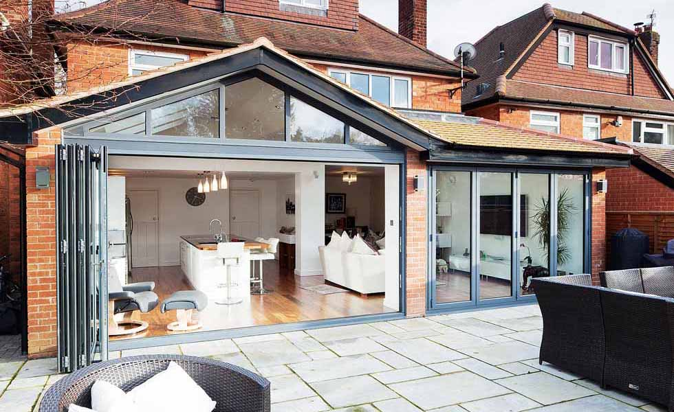 Rear extension with bifold doors open