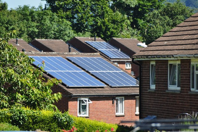 Solar pannels on a house roof