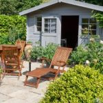 Garden Shed with table and chairs outside