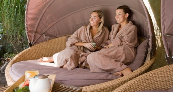 two ladies relaxing in a spa