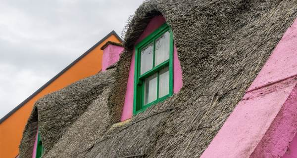 thatched roof with green window frame