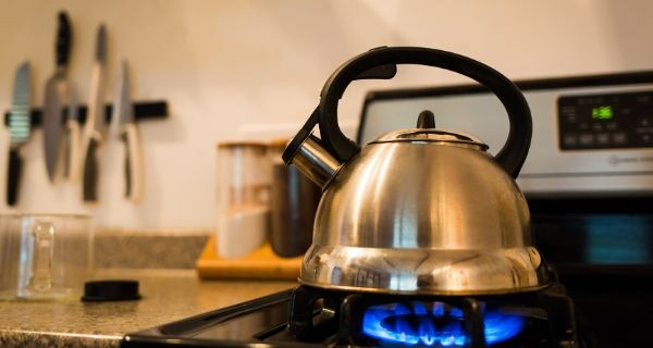 Kettle boiling on a hob