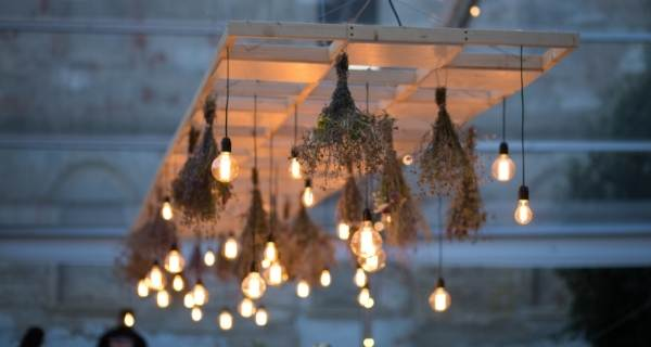 outdoor lights hanging from wooden frame