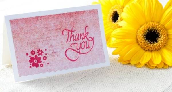 thank you card and sunflower