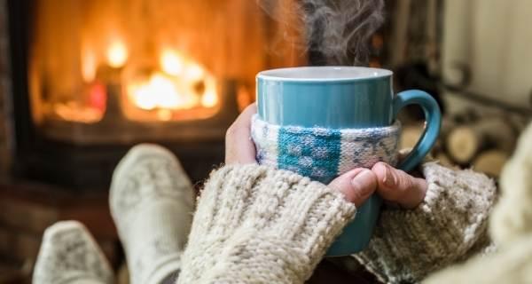 cosy winter autumn fireplace mug