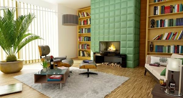 green tile fireplace
