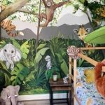 childs bedroom with cartoon animals jungle