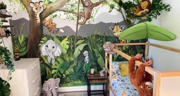 childs bedroom with cartoon animals jungle