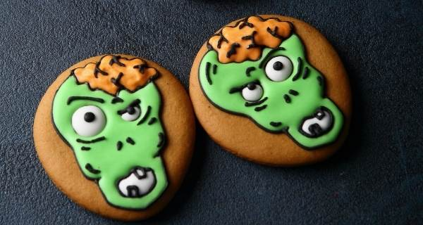 cookies with zombie faces