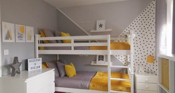 kids bedroom yellow and grey with bunk beds
