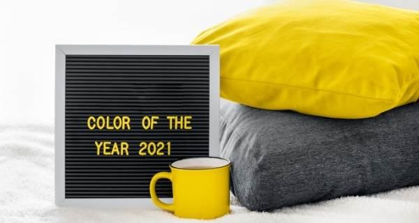 colour of the year 2021 yellow mug and grey cushions