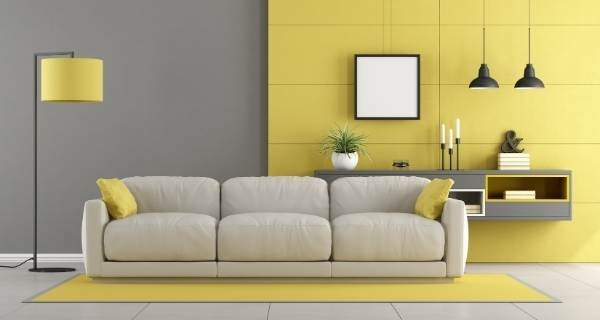 grey and yellow style living room