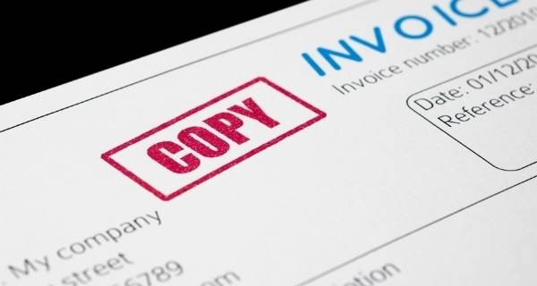 invoice with copy in red
